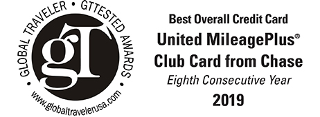 Best Overall Credit Card - United MileagePlus® Club Card from Chase - Eighth Consecutive Year - 2019
