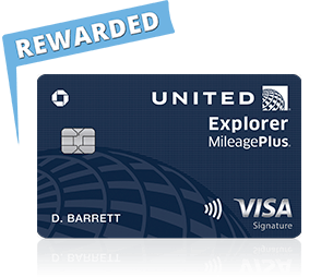 United Explorer Card with rewarded flag
